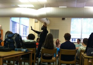 POET CJ SUITT, from Sacrificial Poets, addresses students in the media center. Meredith Norman/The Omniscient