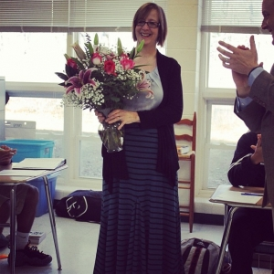 Kathy Greenlee was presented with the Teacher of the Year award during her 2nd period class Feb. 27. Jessica Clayton / The Omniscient.
