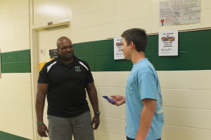 Harrington being interviewed by staff writer, Jacob Sipe