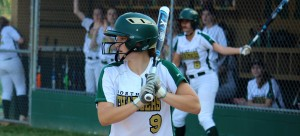 Sophomore Carson Shaner, a UNC-Wilmington softball commit, steps up to the plate. Photo courtesy of Kyndal Hutchinson.